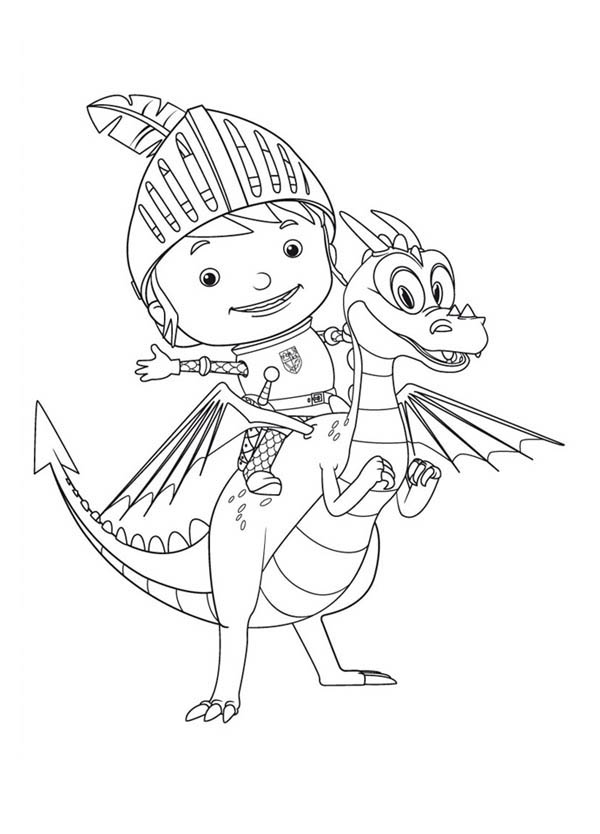 Mike the Knight, : Mike the Knight on Ride Squirt Coloring Page