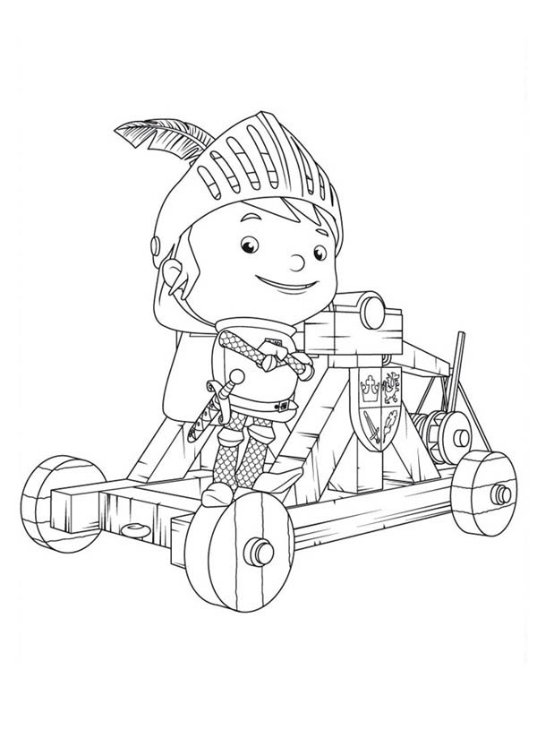 Mike the Knight, : Mike the Knight on a Mangonel Coloring Page