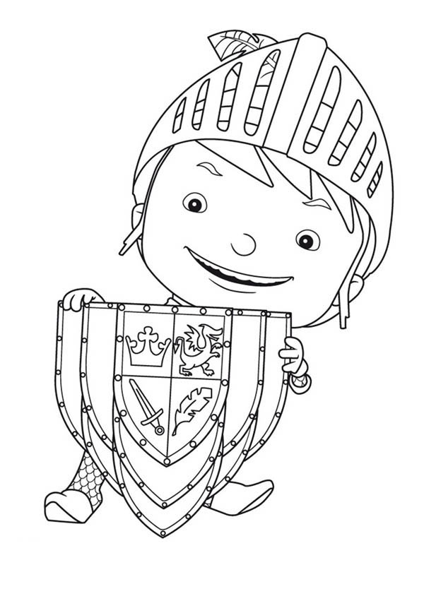 Mike the Knight, : Mike the Knight with Shield Coloring Page