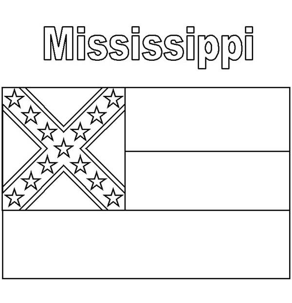 State Flag, : Mississippi State Flag Coloring Page