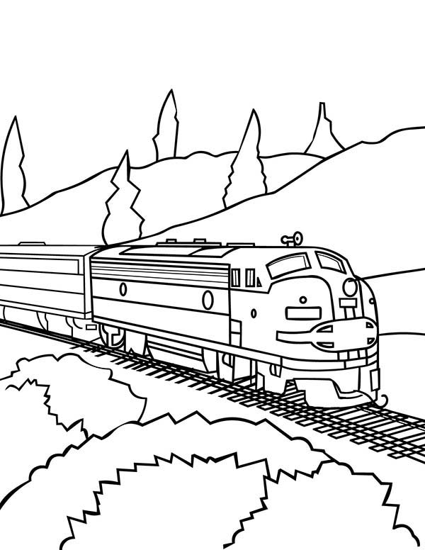 Railroad, : Model Train on Railroad Coloring Page