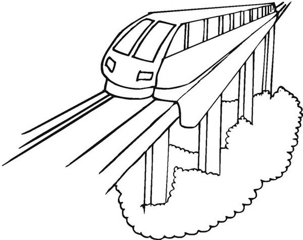 Train on Uphill Railroad Coloring Page | Color Luna