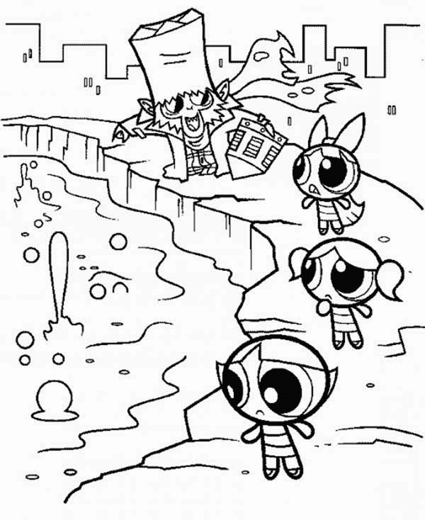 Mojo Jojo and The Powerpuff Girls Coloring Page | Color Luna
