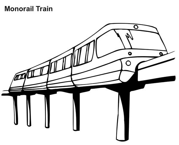 Trains, : Monorail Train Coloring Page