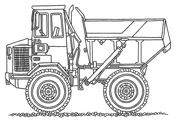 Digger, : Monster Dump Truck in Digger Coloring Page
