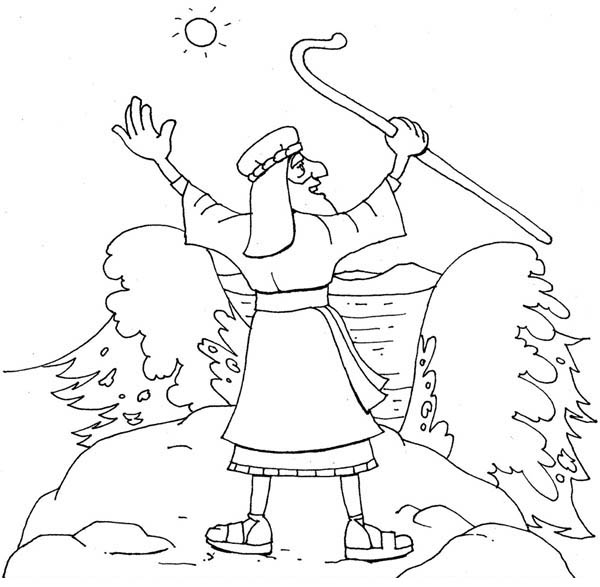 printable coloring pages of moses parting the red sea - moses about to divide red sea coloring page color luna