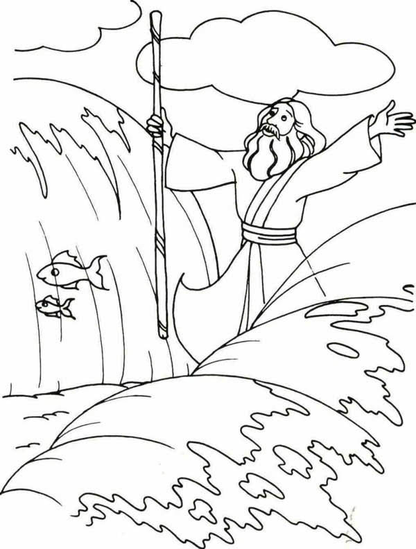 Moses Divide the Red Sea with His Stick Coloring Page Color Luna