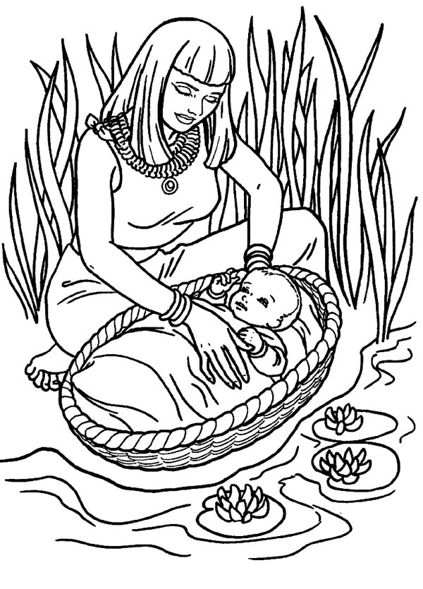 Moses Found Safely in River of Nile Coloring Page Color Luna