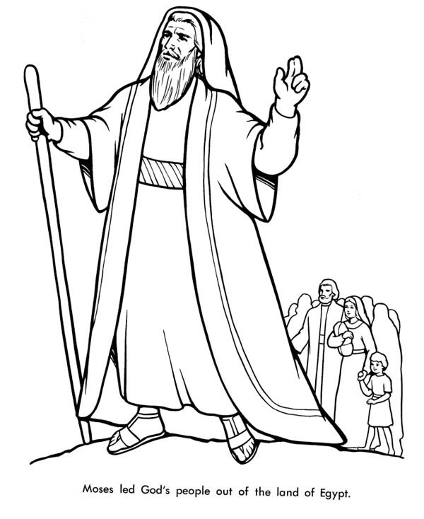 Moses Led Gods People Out of the Land of Egypt Coloring Page Color