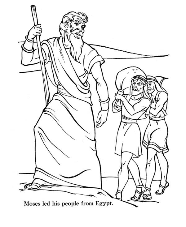 Moses, : Moses Led His People from Egypt Coloring Page