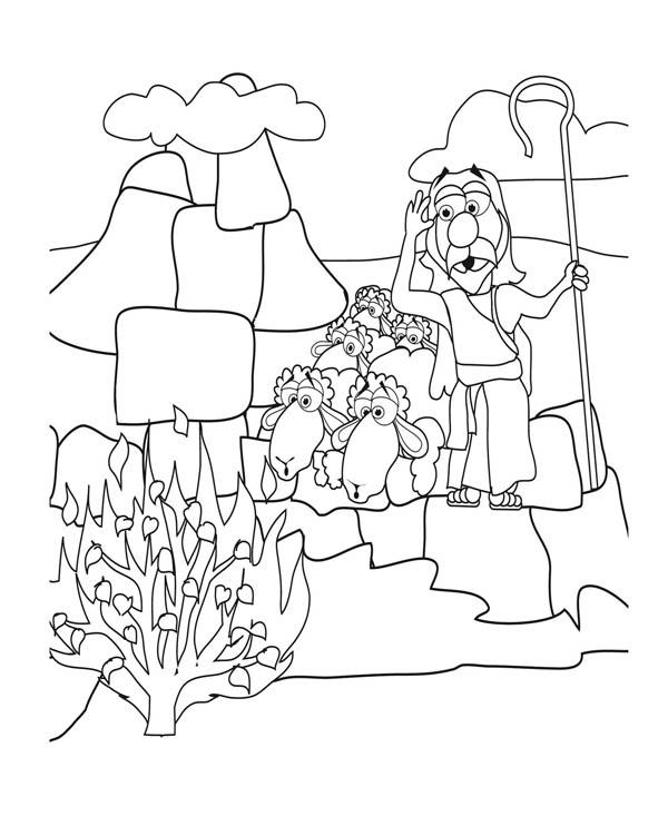 Moses See Burned Bush Coloring Page