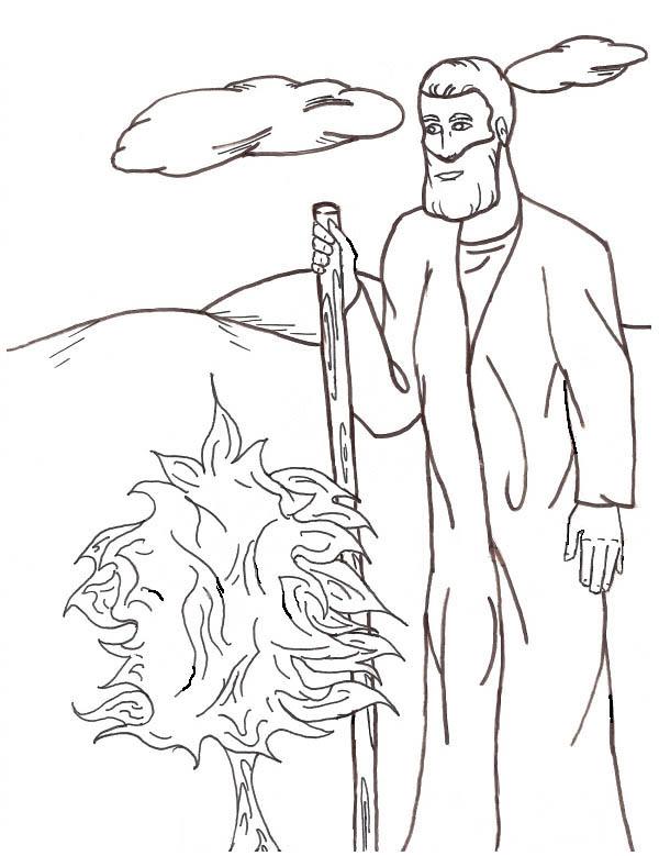 Moses, : Moses and Burn Bush Coloring Page