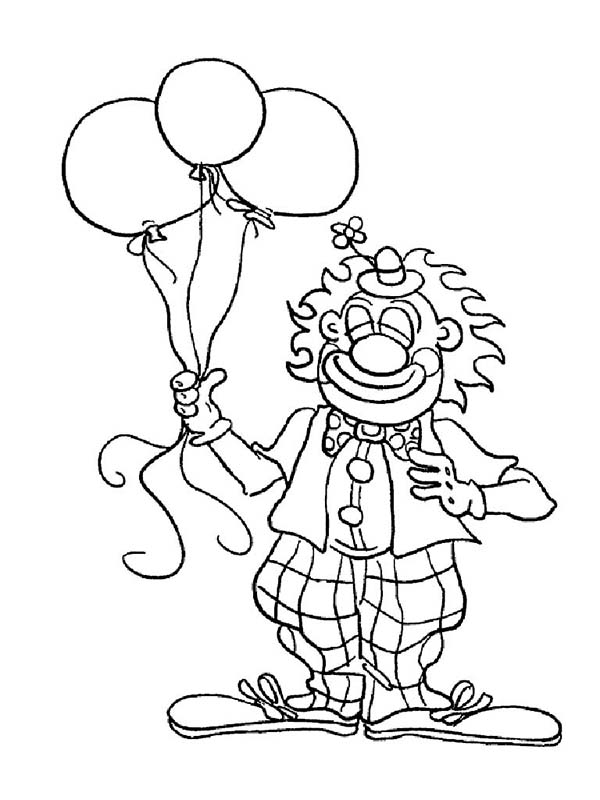 Mr Clown Has Tree Balloon Coloring Page