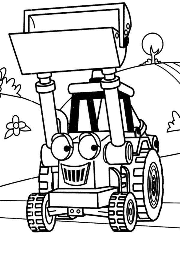 Muck the Tractor in Digger Coloring Page Color Luna
