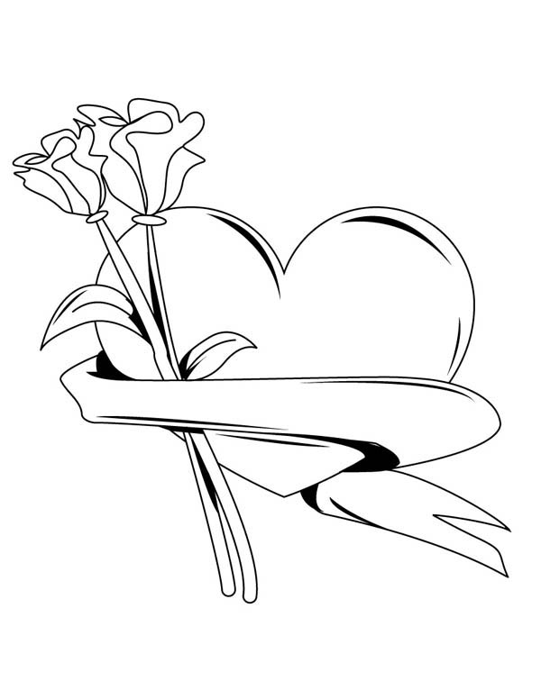 Hearts & Roses, : My Hearts and Roses for You Coloring Page