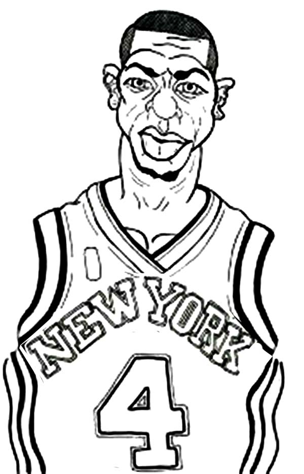 NBA, : NBA New York Knick Coloring Page