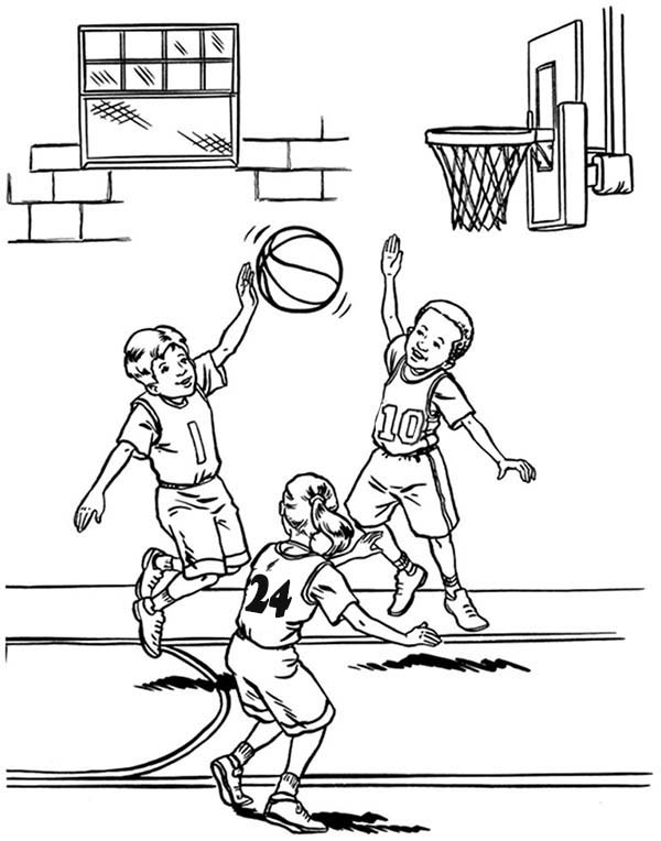 NBA, : NBA Player Blocked Shot Coloring Page