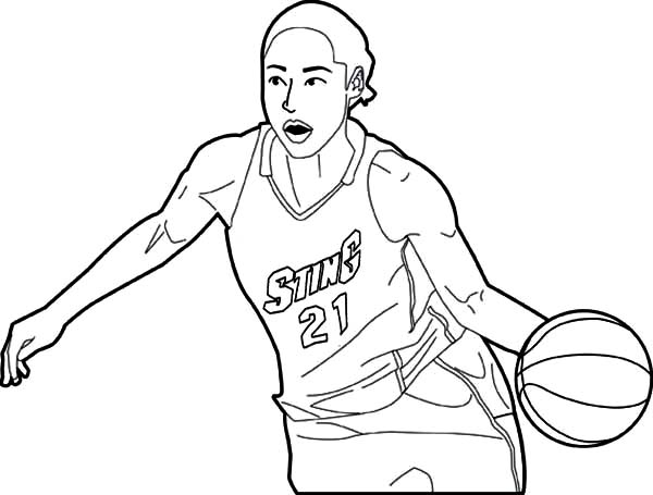 NBA, : NBA Player Dribbling Coloring Page