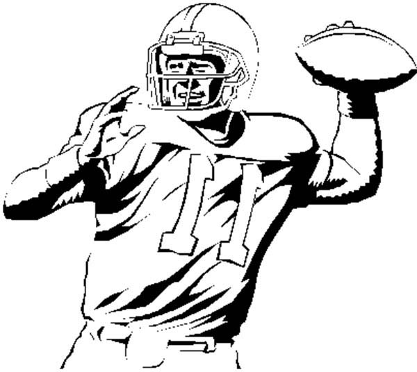 NFL Player Throwing Ball Coloring Page | Color Luna