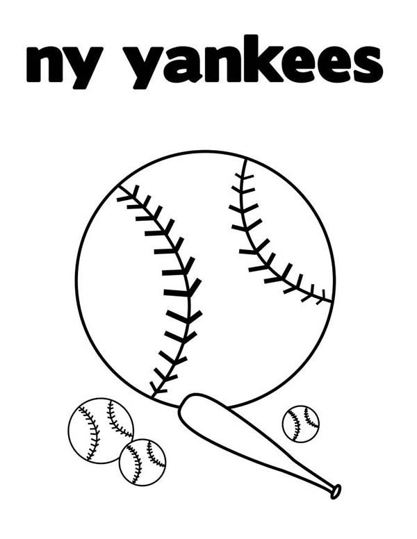 MLB, : NY Yankess in MLB Coloring Page
