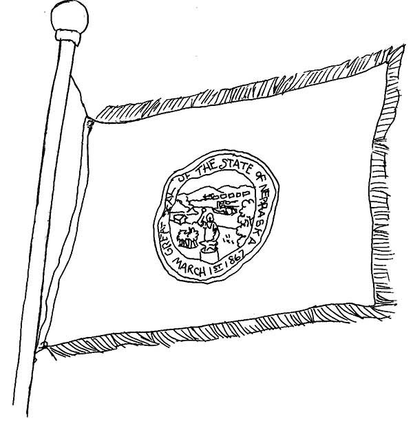 State Flag, : Nebraska State Flag Coloring Page