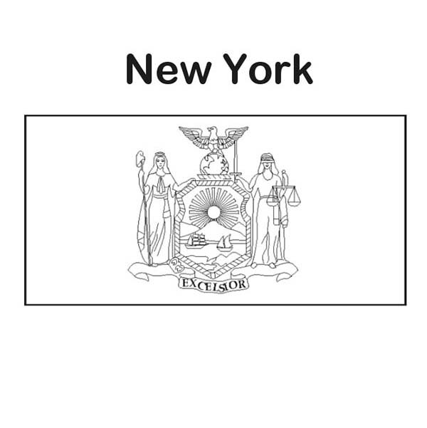 State Flag, : New York State Flag Coloring Page