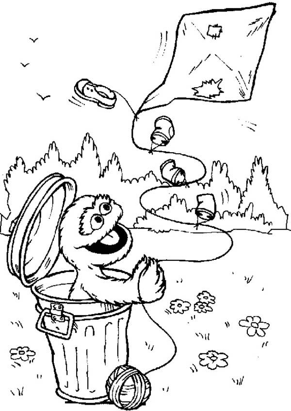 Sesame Street, : Oscar Playing Kite from Garbage Can in Sesame Street Coloring Page