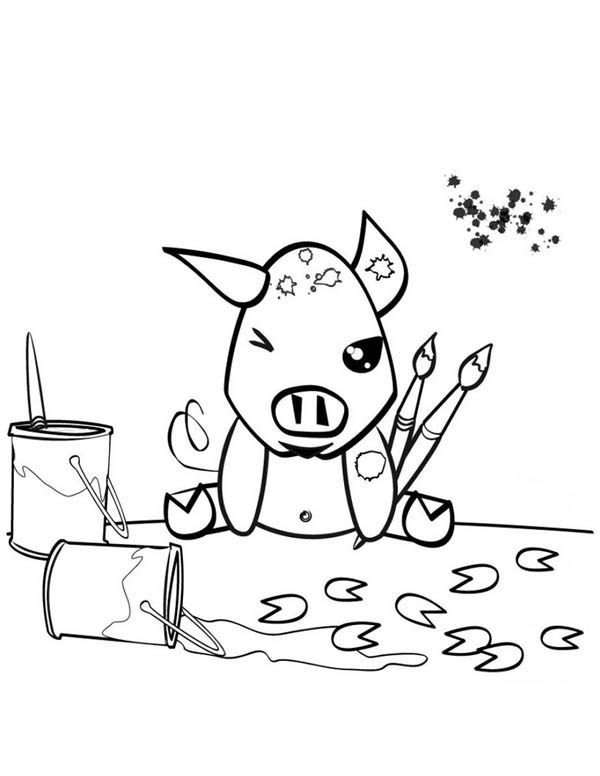 Guinea Pig, : Painting Pig in Guinea Pig Coloring Page