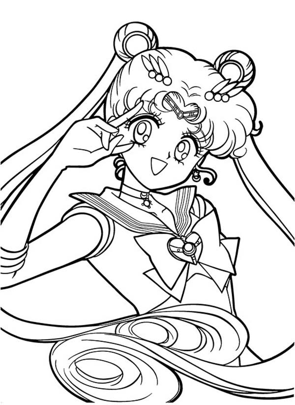 Sailor Moon, : Passionate Sailor Moon Coloring Page