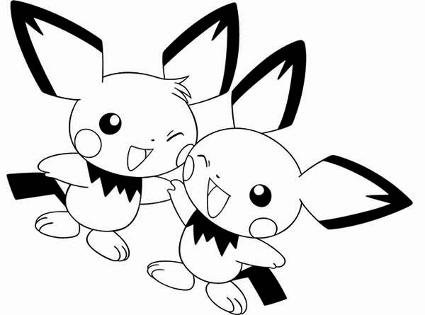Pichu, : Pichu Best Friend Coloring Page