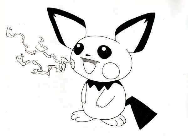 Pichu, : Pichu Fire Breathe Coloring Page
