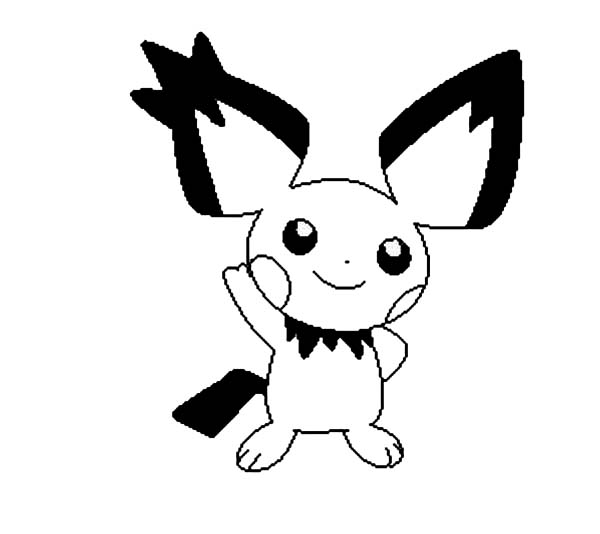 Pichu, : Pichu Greeting Us Coloring Page