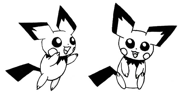 Pichu, : Pichu Jumping Around Coloring Page