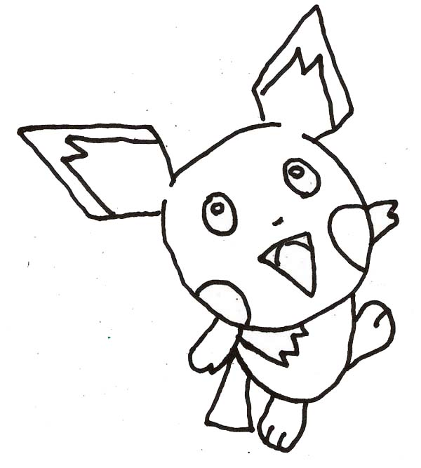 Pichu, : Pichu Outline Coloring Page