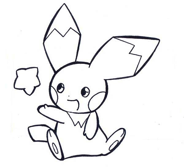 Pichu, : Pichu Playing with Star Coloring Page