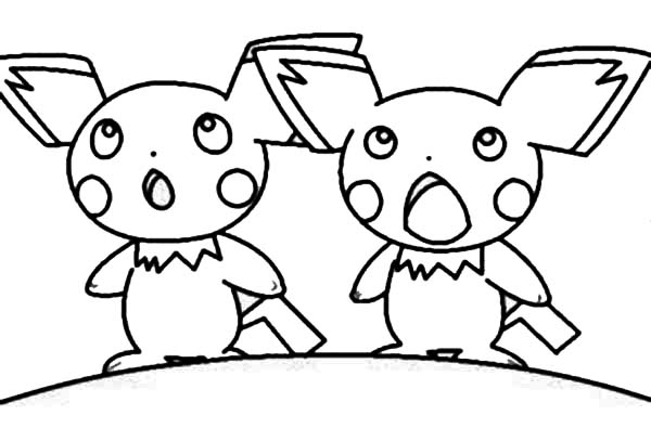 Pichu, : Pichu Surprised Face Coloring Page