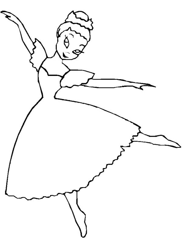 Ballerina, : Picture of Ballerina Coloring Page