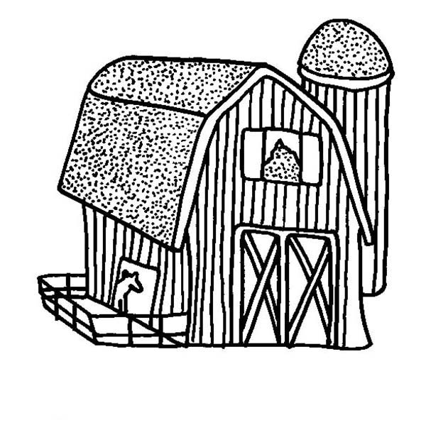 Barn, : Picture of Barn Coloring Page