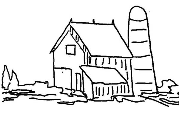 Barn, : Picture of Barnsilo Coloring Page