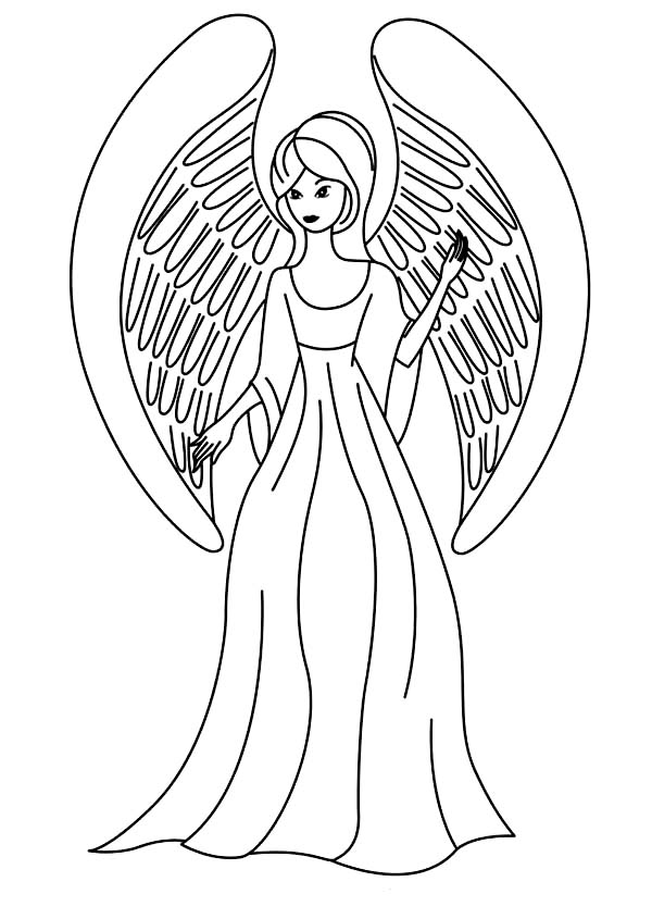 beautiful angel in pencil coloring coloring pages