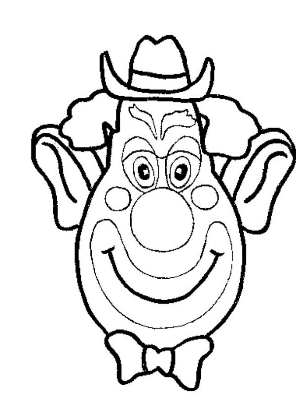 Clown, : Picture of Clown Head Coloring Page