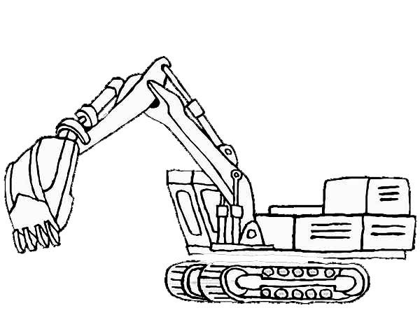 Digger, : Picture of Excavator in Digger Coloring Page