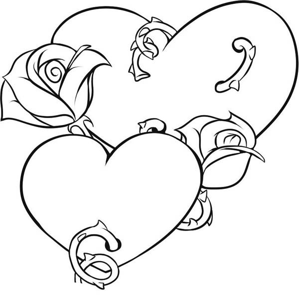 hearts roses picture of hearts and roses coloring page - Coloring Pages Hearts Roses