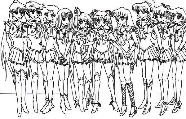 picture of sailor moon characters coloring page - Sailor Moon Coloring Pages