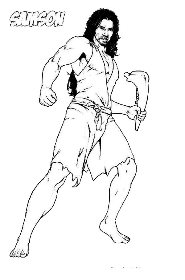 Samson, : Picture of Samson with Jawbone of an Ass Coloring Page