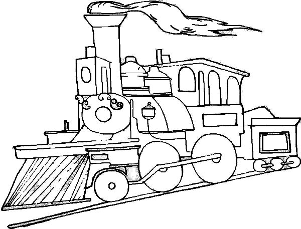 Railroad, : Picture of Steam Train on Railroad Coloring Page