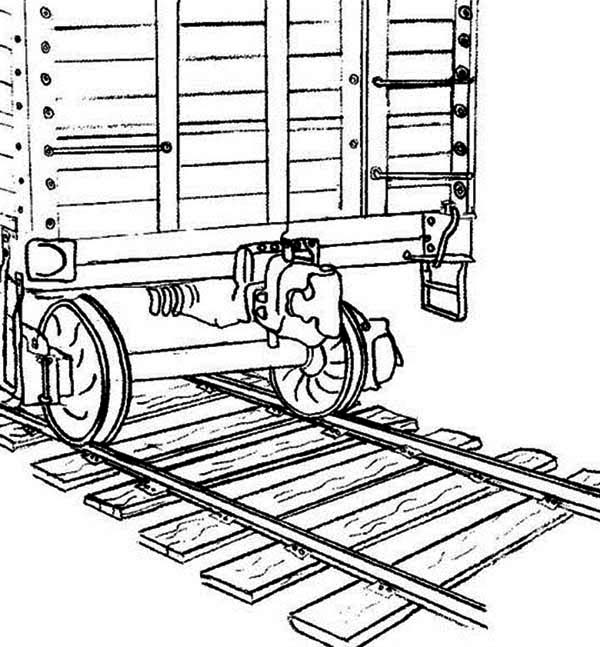 Railroad, : Picture of on Classic Railroad Coloring Page