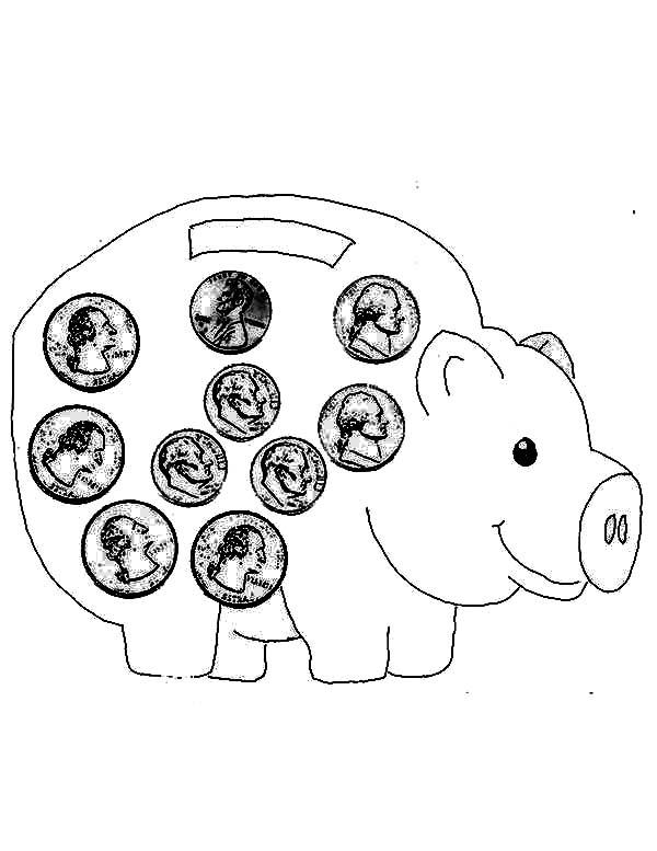 Piggy Bank Full of Coin Coloring Page | Color Luna