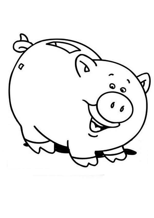 Piggy Bank, : Piggy Bank is Laughing Coloring Page