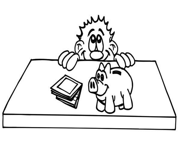 Piggy Bank, : Piggy Bank on the Table Coloring Page